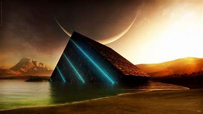 Abstract Water Moon Science Sunset Fiction Glowing