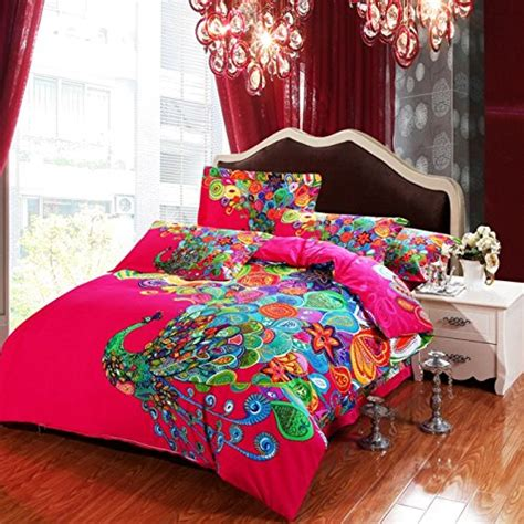 4 pieces colorful peacock animal red floral prints duvet
