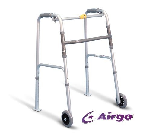 foldable bar airgo folding walker 5 wheels and skis small