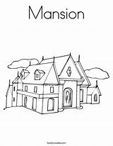 Coloring Mansion Worksheet Outline Twistynoodle Built California Usa Noodle Tracing sketch template