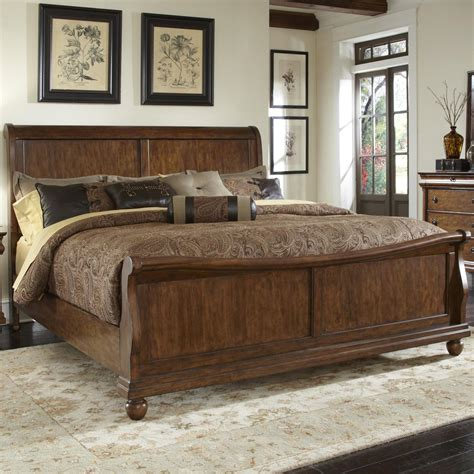 liberty furniture rustic traditions king sleigh bed set