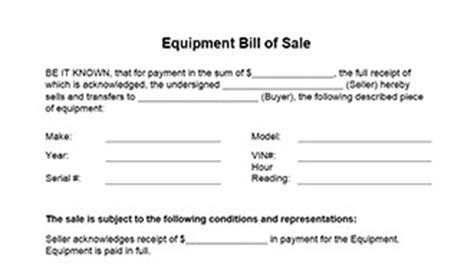 Florida Boat Bill Of Sale Itemized by Equipment Bill Of Sale Form In Word And Pdf