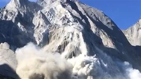massive avalanche  mudslide sweep   mountain