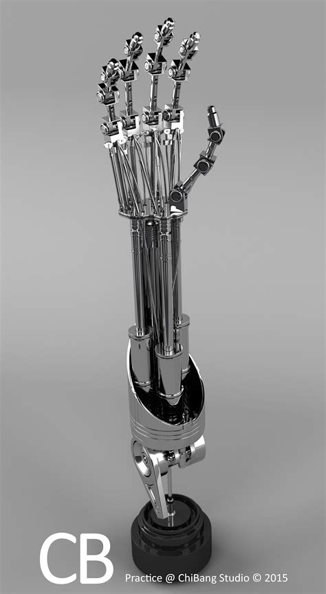Robotic Terminator Arm T-800 Maya 3D model - Textured mid