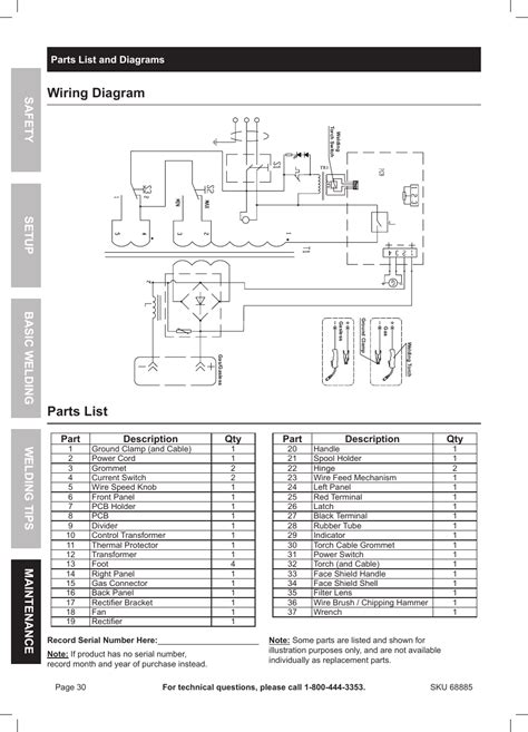 Wiring Diagram Parts List Chicago Electric Wire Feed