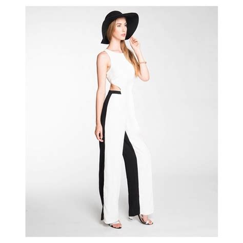 white and black jumpsuit 71 two tone black and white jumpsuit from