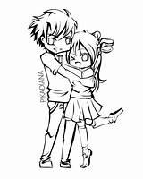 Coloring Anime Couple Chibi Couples Lineart Drawing Boyfriend Girlfriend Kissing Deviantart Printable Drawings Diana Cartoon Hiwatari Sheets Holding Hands Animal sketch template
