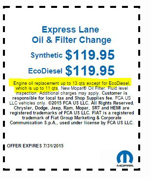 Mopar Oil Change Coupons Updated With Ed Text
