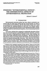 Pursuing Environment Justice: The Distributional Effects ...
