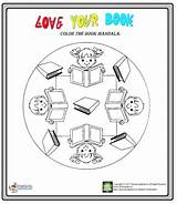 Library Coloring Week Mandala Worksheet Preschoolplanet sketch template