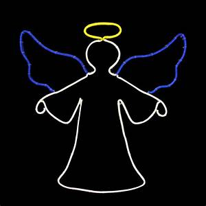 20, U0026quot, Neon, Style, Led, Lighted, Angel, Christmas, Window, Silhouette, Decoration