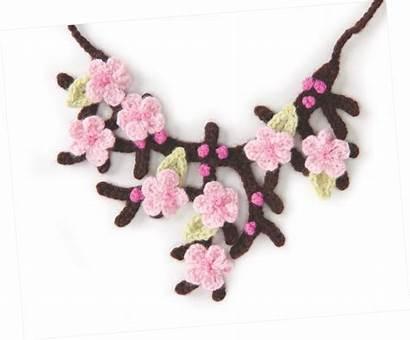Crochet Necklace Cherry Pattern Blossom Patterns Allcrafts