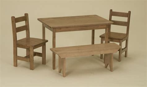 child kitchen table set chairs bench oak homeschool wooden
