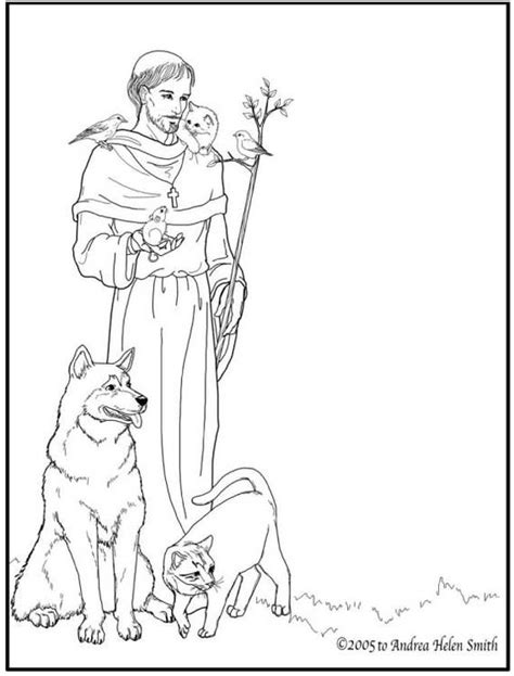 st francis of assisi catholic coloring page printable for catholic feast day is october