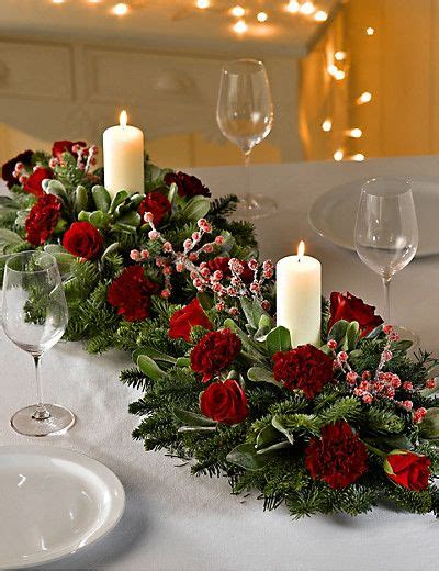 double christmas table arrangement flowers christmas