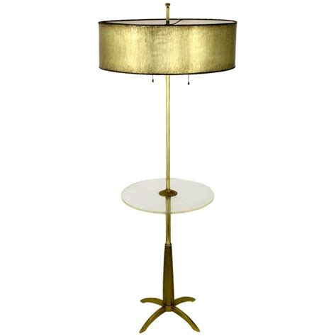 stiffel brass floor l with round lucite table at 1stdibs