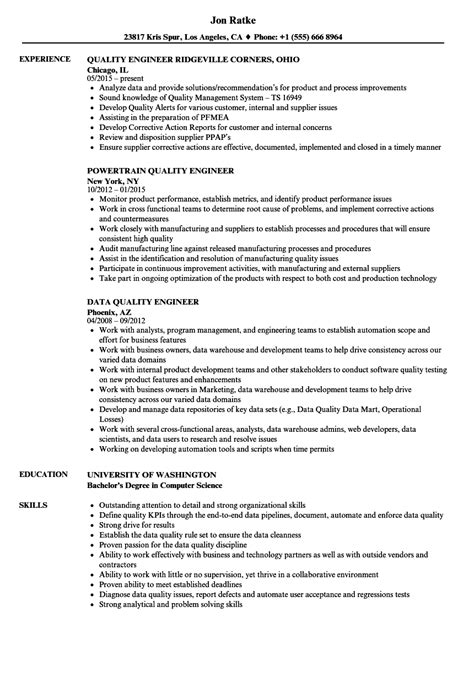 Quality Engineer Resume by Quality Engineer Quality Engineer Resume Sles Velvet