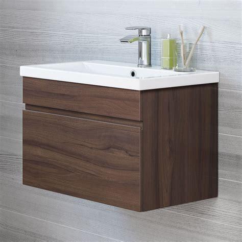 vanity unit basin sink modern bathroom wall hung vanity unit storage cabinet basin sink walnut ebay