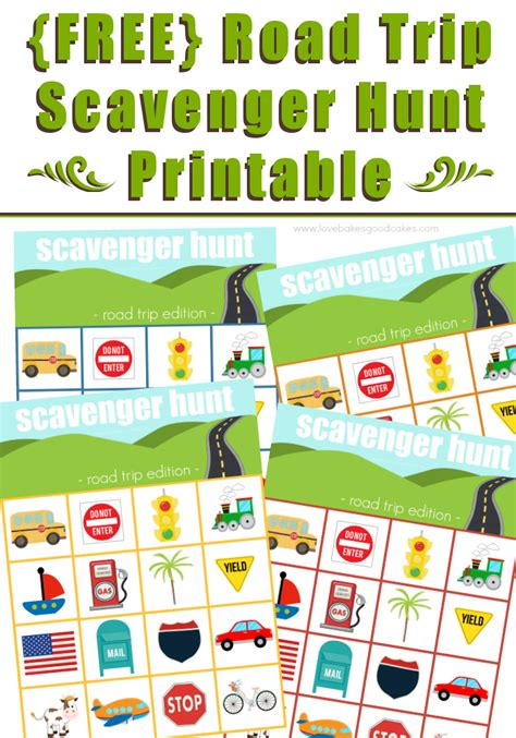 Road Trip Scavenger Hunt Printable  Love Bakes Good Cakes