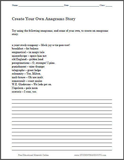 create   anagrams story heres   printable