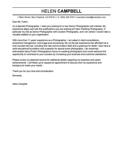 cover letter for photography best senior photographer cover letter exles livecareer 21085