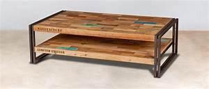 Table Basse Rectangulaire Bois : table basse rectangulaire en bois recycl s industryal ~ Teatrodelosmanantiales.com Idées de Décoration