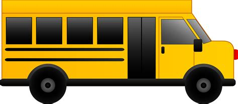 short yellow bus pictures clipart