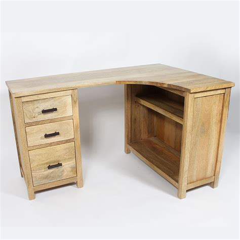 bureau en bois bureau bois massif en angle 3 tiroirs made in meubles