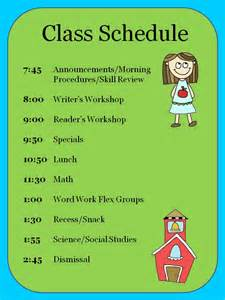 Elementary School Class Schedule Template