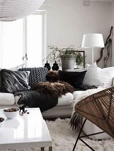 decoration en noir blanc blog deco mydecolab With tapis yoga avec plaid canapé noir et blanc