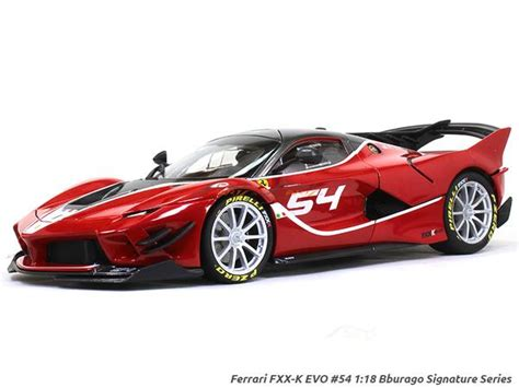 The evo package improves on the fxx k with weight reduction and substantial increases in downforce, thanks to the radically redesigned bodywork. Ferrari FXX-K EVO #54 Signature Series 1:18 Bburago diecast scale mode | Scale Arts India