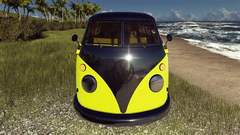 volkswagen beach vw kombi yellow car render