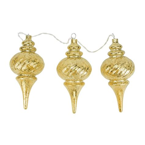 northlight 3 lighted gold mercury glass finish finial christmas ornaments atg stores