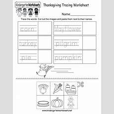 Thanksgiving Tracing Worksheet  Free Kindergarten Holiday Worksheet For Kids