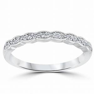 15 Cttw Diamond Stackable Womens Wedding Ring 14k White Gold