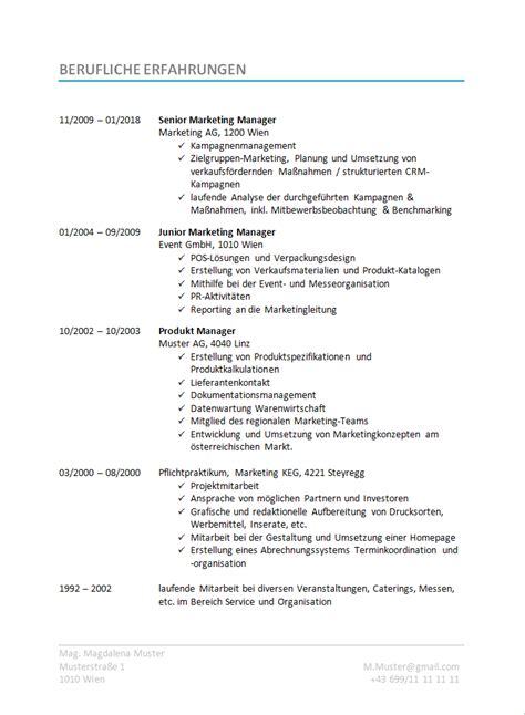 Cv Schreiben Muster by 17 Bewerbungsschreiben 246 Sterreich Emovoid
