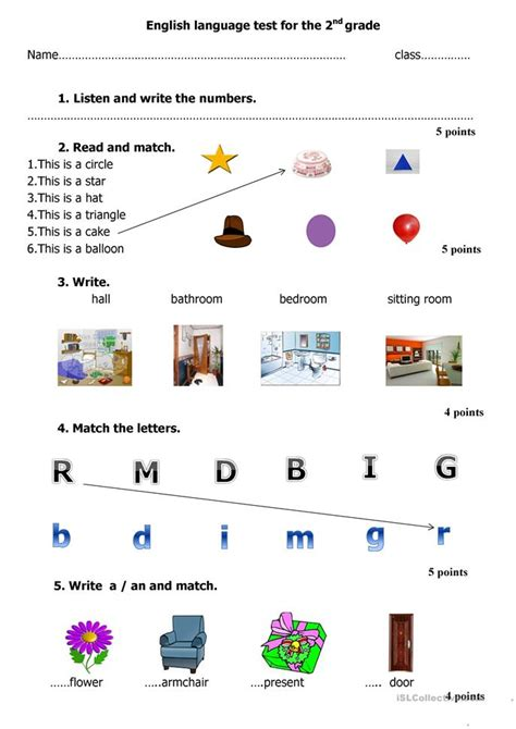 english language test    grade worksheet