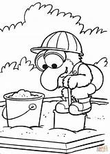 Coloring Pages Playing Gonzo Sandbox Sand Muppet Babies Games Silhouettes Printable sketch template