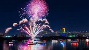 Tokyo City Fireworks Beautiful Night Bay Bridge
