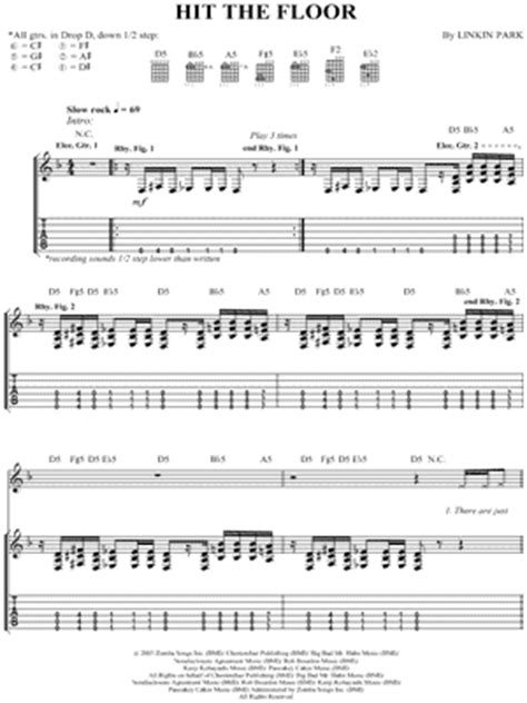 linkin park quot hit the floor quot guitar tab print - Hit The Floor Tab