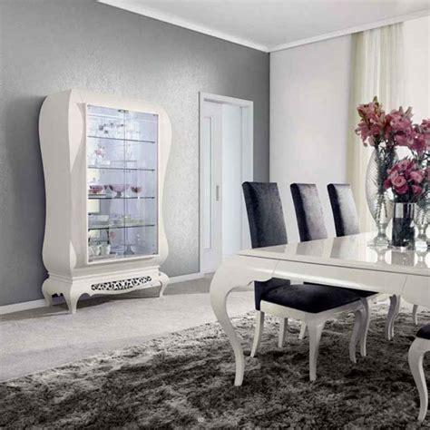 table et chaises de cuisine design salle à manger moderne laque blanc argent york