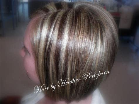 Cute Bob Cut Chunky Highlights Lowlights Blonde Red Brown