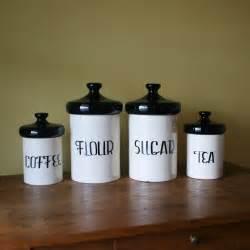 Black Ceramic Canister Sets Kitchen Vintage Black And White Ceramic Canister Set By Sariloaf