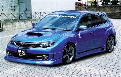 custom blue subaru custom subaru sti with charge speed body kit picture