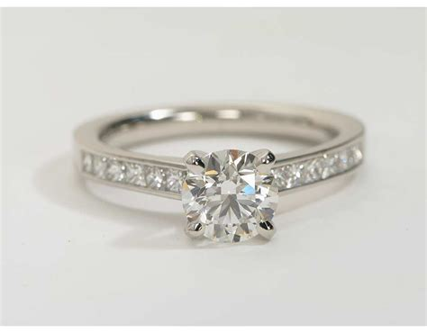 princess cut channel engagement ring in platinum 1 2 ct tw blue nile