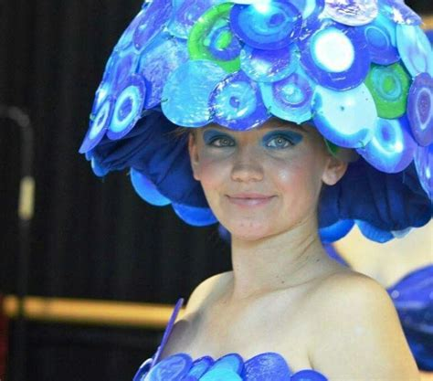 wearable art  recycled materials hat   milk