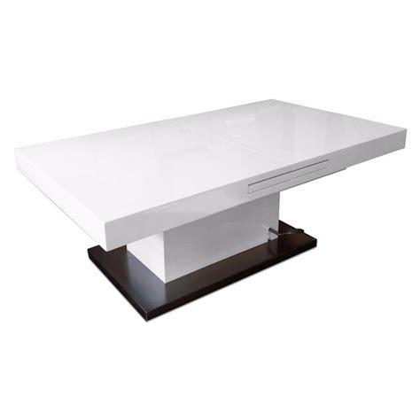 tables relevables tables et chaises table basse relevable extensible setup blanc brillant