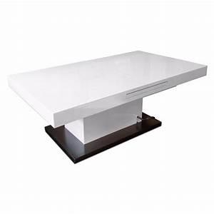 Table Laqué Blanc : tables relevables tables et chaises table basse relevable extensible setup blanc brillant ~ Teatrodelosmanantiales.com Idées de Décoration