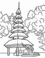 Pagoda Japanese Chinese Drawing Garden Coloring Pages Bridge Cartoon Gardens Cartoons Drawings Japan Landscape Diy Floating Colors Glass Stained Getdrawings sketch template