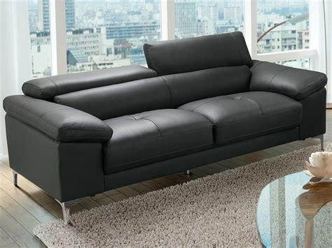 canapé cuir 3 places pas cher canapé 3 places solange avec têtières en cuir noir